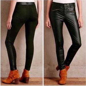 Anthropologie Pilcro Faux Leather Ponte Moto Pants